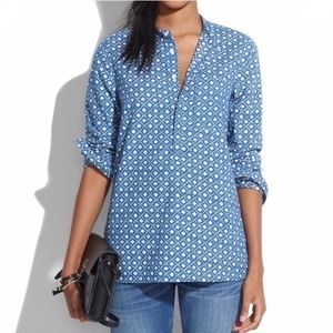 Madewell Floral Stamp Chambray Popover Top